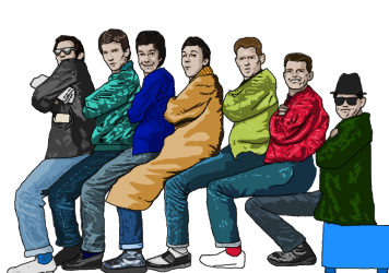 Cartoon drawing of Madness doing a sitting version of the 'Nutty Train'.