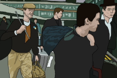 Cartoon image of Chas, Suggs, Chrissy Boy and Barso at the airport