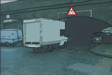 Cartoon image of Thommo's job as a van driver.