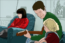 "Cartoon image of Chrissy Boy with his wife and ""son""."