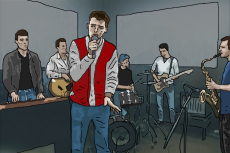 Cartoon image of the final rehearsal (Woody's now in the line-up).
