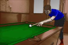 Cartoon image of Suggs playing pool with Chalky (offscreen).
