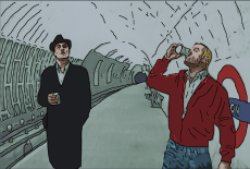 Cartoon image of Barso and Si in the Tube Station