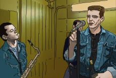 Cartoon image of Suggs' first rehearsal.